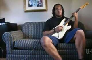 Chargers Barksdale Plays the O-Line and a Fender Too