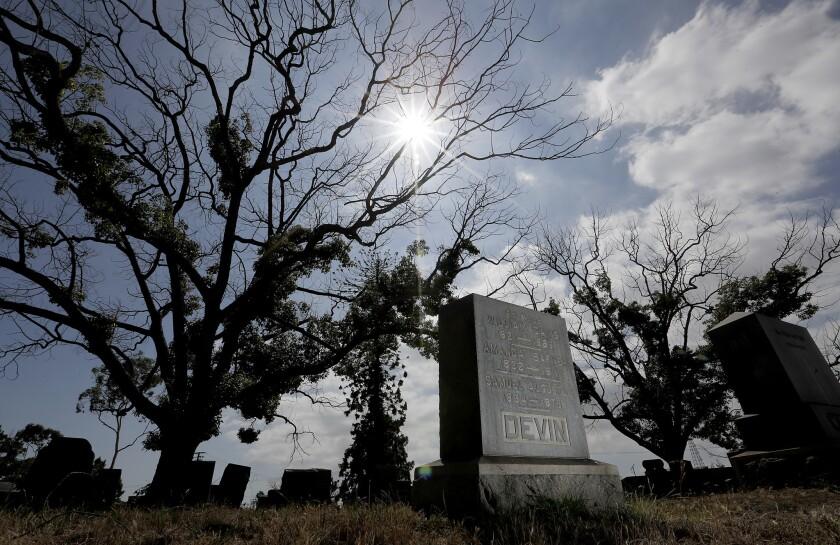 LONG BEACH, CALIF. - JUNE 26, 2019. Sunnyside Cemetery along Willow Street in Long Beach has announc