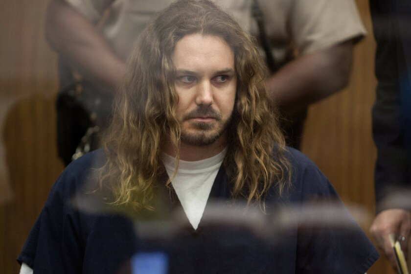 Rock singer Timothy Lambesis during his arraignment at the Vista courthouse in 2013.
