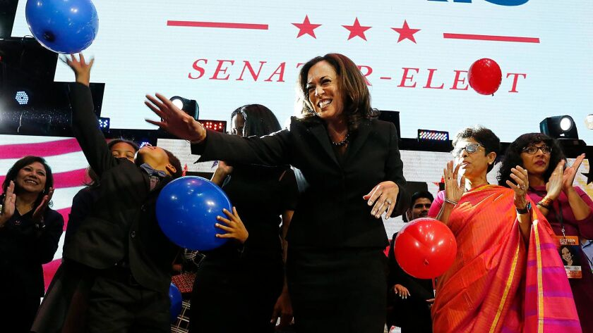 Kamala Harris celebrates at her rally in downtown Los Angeles.