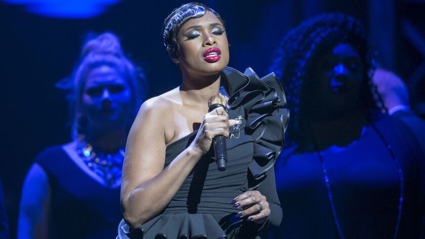 Singer-actress Jennifer Hudson performs at the Center Theatre Group's 50th anniversary celebration at the Ahmanson Theatre on Saturday.