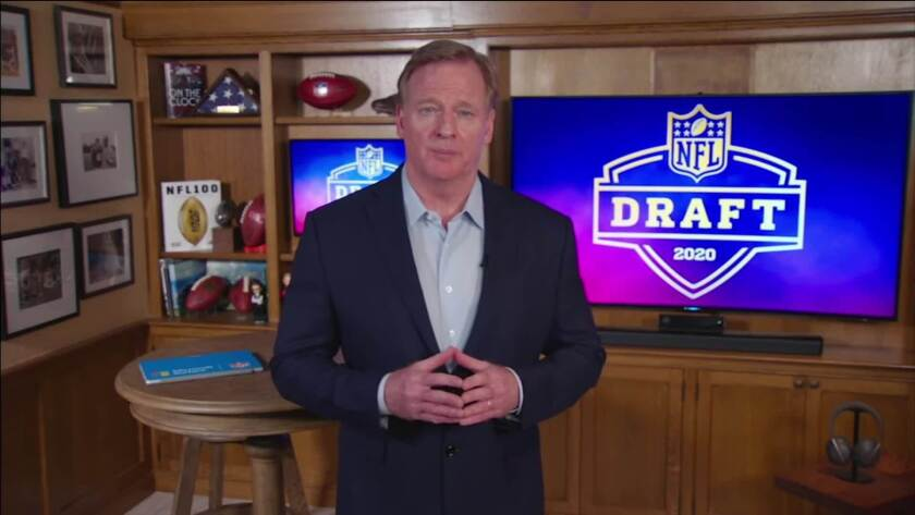 NFL Commissioner Roger Goodell speaks from his home in Bronxville, N.Y., during the first round of the 2020 NFL draft on April 23.