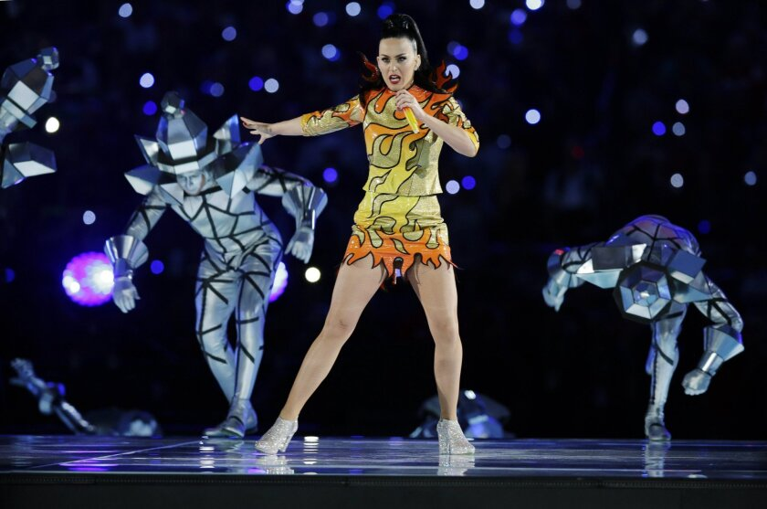 FILE - In this Feb. 1, 2015 file photo, singer Katy Perry performs during halftime of NFL Super Bowl XLIX football game between the Seattle Seahawks and the New England Patriots, in Glendale, Ariz.  A dispute between a group of elderly nuns and the Los Angeles Archdiocese over who owns a Hollywood