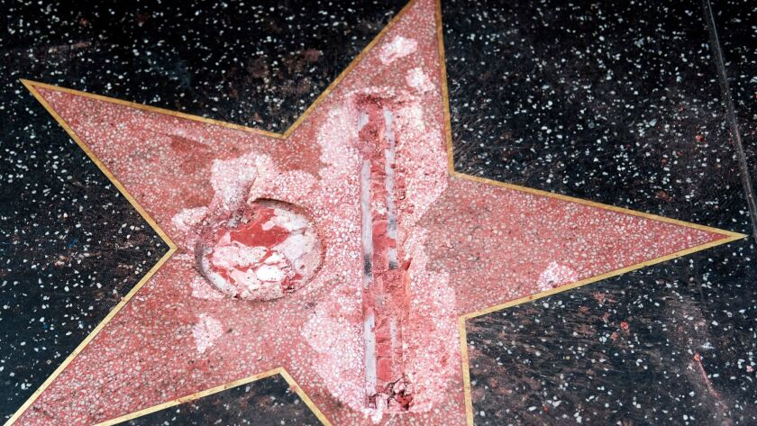 The vandalized Donald Trump star on the Hollywood Walk of Fame.