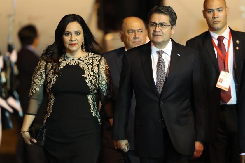 Honduran President Juan Orlando Hernández with his wife, Ana García Carías.