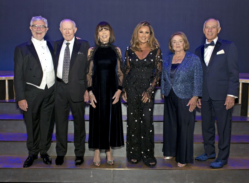 Chapman University President Daniele Struppa with Citizens of the Year recipients Ron and Sandi Simon, Lifetime Achievement in the Arts recipient Vanessa Williams and the Gala Night Co-Chairs Kay and Jim Burra.