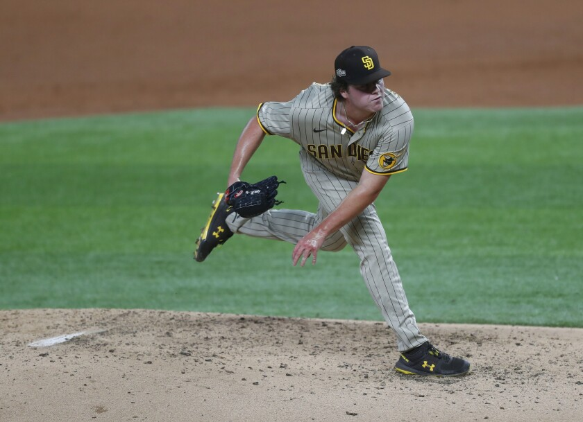 Ryan Weathers of the Padres pitches Tuesday against the Los Angeles Dodgers in Game 1 of the NLDS.