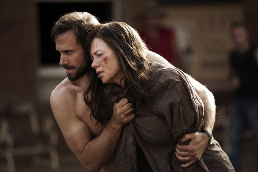 "This photo provided by courtesy of the Sundance Institute shows, Joseph Fiennes, left, and Nicole Kidman, in a scene from Parker Pictures Productions presents ""Strangerland"" a film by Kim Farrant, Films in the 2015 Sundance Film Festival's competitive categories feature such stars as Sarah Silverma"