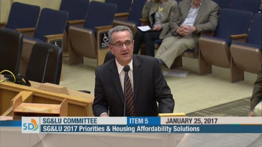 Bird Rock resident Joe LaCava speaks at the Jan. 25 San Diego City Council Smart Growth & Land Use committee meeting.