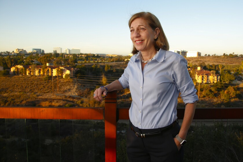 Barbara Bry stands on a patio deck of a home that over looks Rose Canyon. Beside being a candidate for San Diego mayor, La Jolla resident Barbara Bry has served as the San Diego City Council member representing District 1 since 2017.