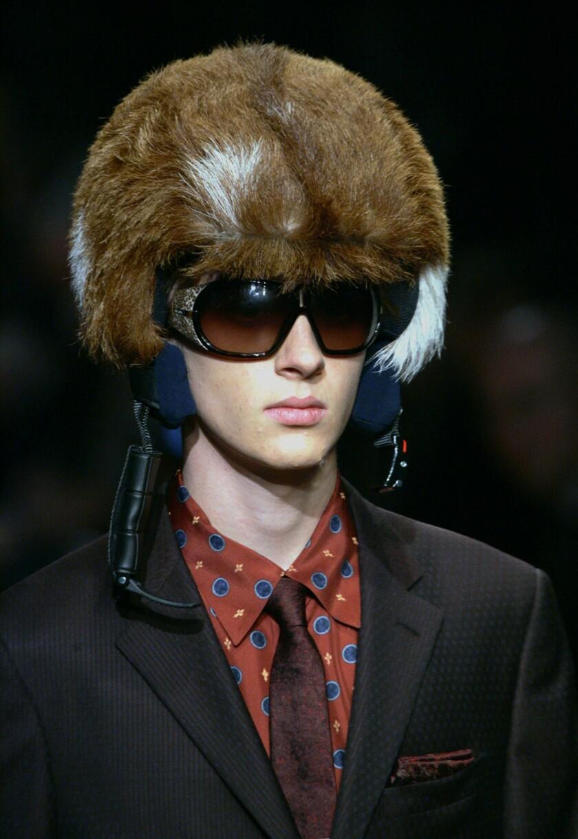 Furred Prada helmet