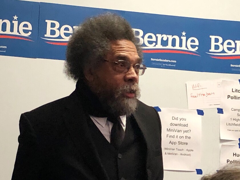 Cornel West, longtime racial justice scholar and Bernie Sanders' campaign co-chair, made an appearance at a Nashua, N.H.-area field office where volunteers were preparing to go knock on doors.