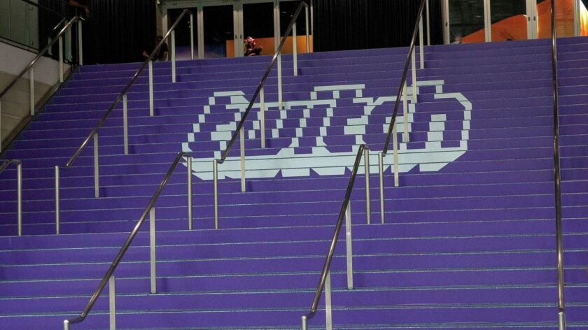 The Twitch logo adorns a staircase at the Los Angeles Convention Center during the E3 expo in June.
