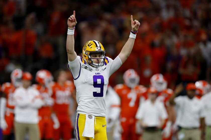 LSU quarterback Joe Burrow reacts to a touchdown against Clemson during the third quarter in the College Football Playoff championship game on Monday in New Orleans.