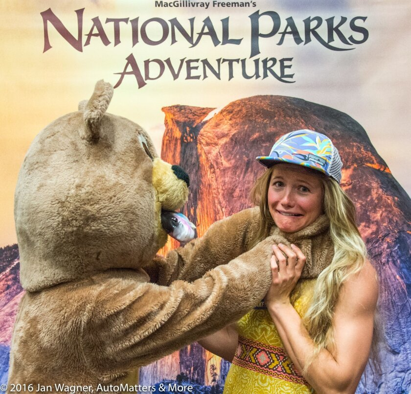 Rachel Pohl and a fish-catching bear.