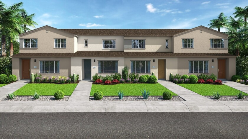 A rendering of a fourplex in the Meyer neighborhood of the master-planned community of Citro in Fallbrook.