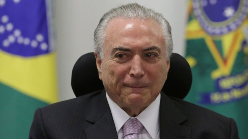 Brazilian President Michel Temer attends a meeting in the capital, Brasilia, on May 29, 2017.