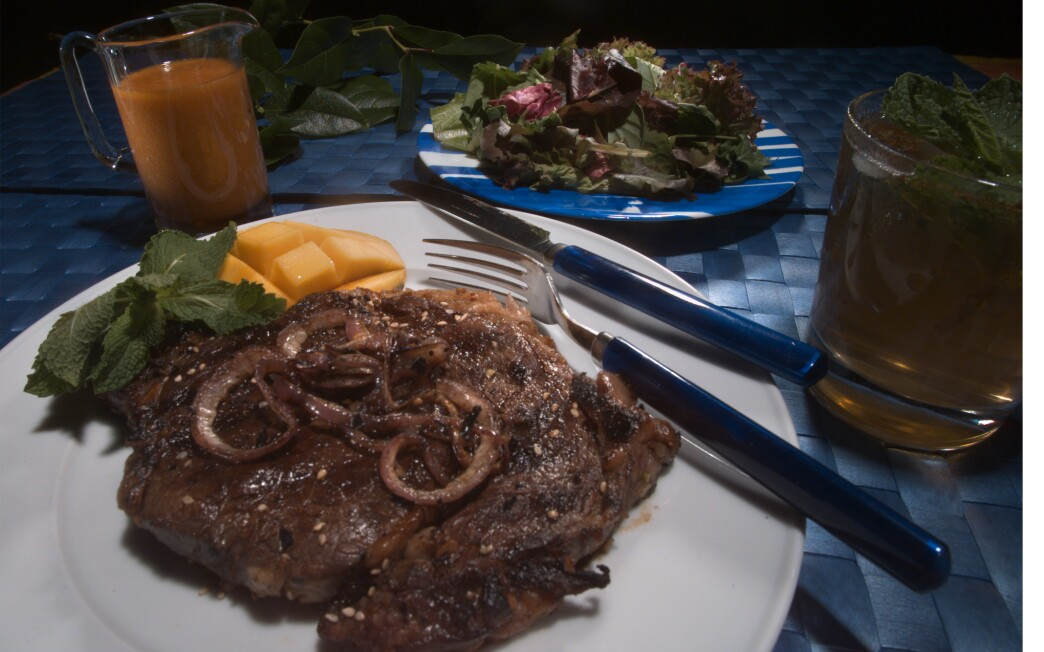 Kalbi steak with mint tean and tangy ginger dressing.