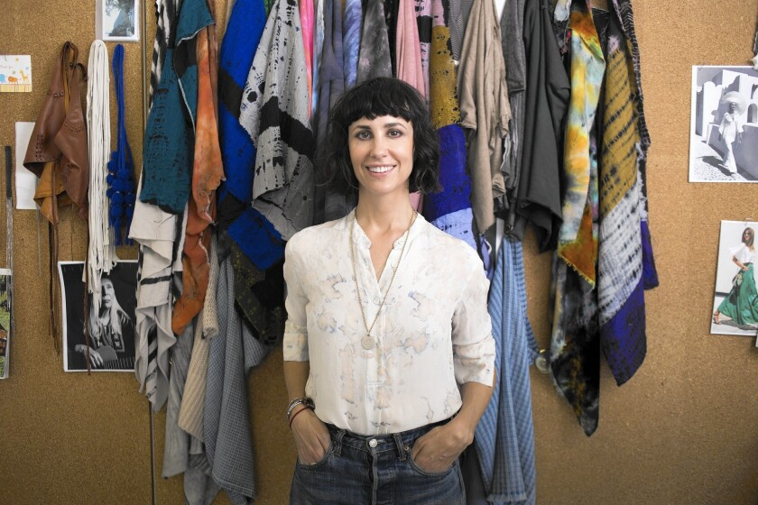 """Fashion designer Raquel Allegra, seen in her Los Angeles studio, says her brand is """"not a bohemian brand, but it definitely speaks to a bohemian, those who are a little more on the edgy side."""""""