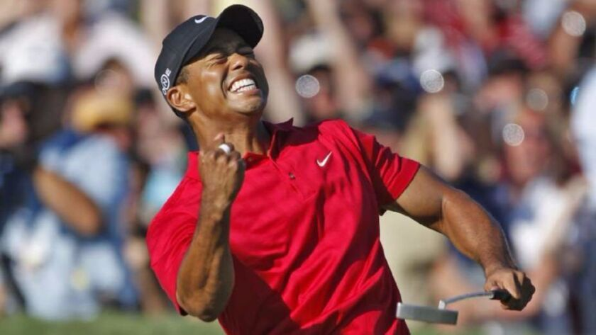Tiger Woods celebrates making birdie putt that forced a playoff with Rocco Mediate in 2008 U.S. Open at Torrey Pines.