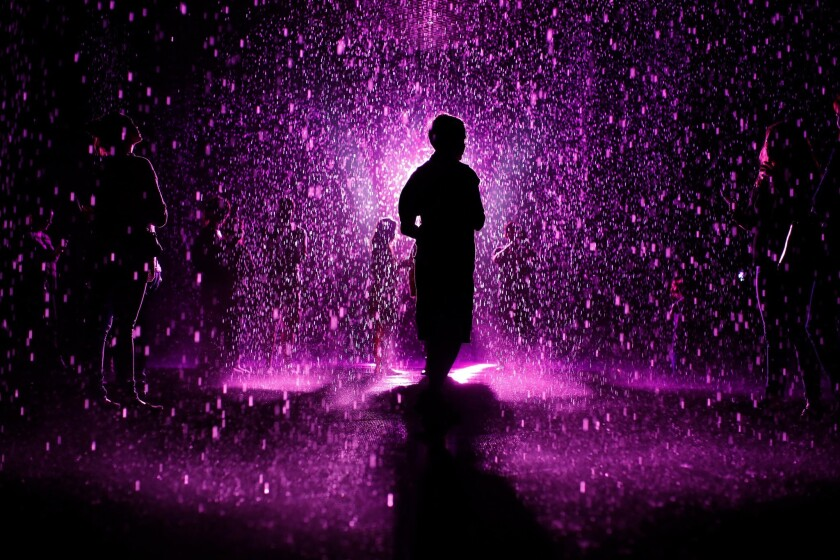 "The Los Angeles County Museum of Art turned its popular ""Rain Room"" attraction purple in honor of Prince on Friday."