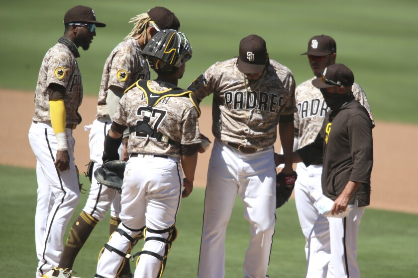 Dinelson Lamet walks off the mound after allowing one hit in 6 2/3 innings Sunday against the Diamondbacks.