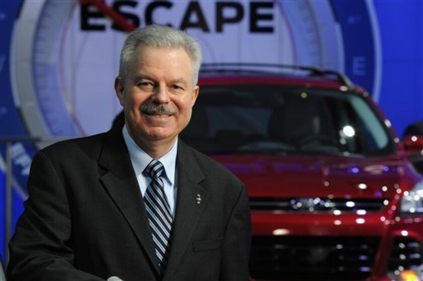 This Jan, 29, 2012 photo provided by Ford Motor Co., shows Derrick Kuzak, Group Vice President, Product Development, The Americas, Ford Motor Company, at the 2012 North American International Auto Show in Detroit. Kuzak will retire on April 1, 2012. (AP Photo/Ford Motor Co.)