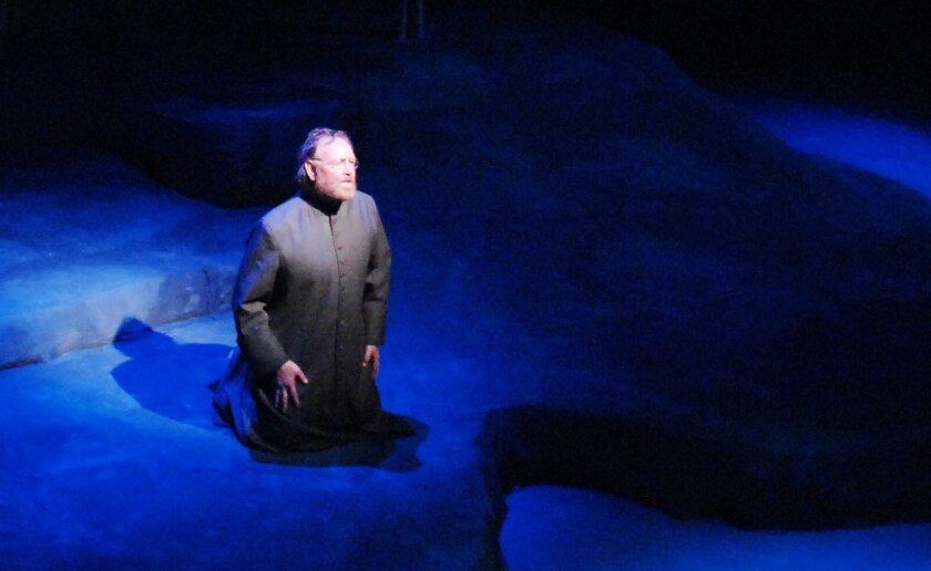 "Robert Smyth in Lamb's Players Theatre's ""Damien."""