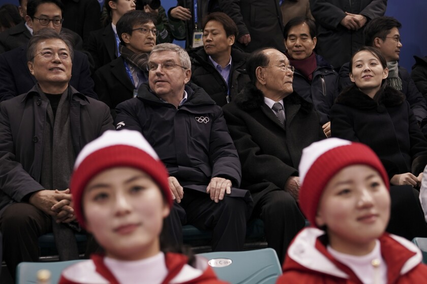 FILE - In this Feb. 10, 2018, file photo, Kim Yo Jong, sister of North Korean leader Kim Jong Un, right, and North Korea's nominal head of state Kim Yong Nam, second right, sit next to Thomas Bach, president of the International Olympic Committee and South Korean President Moon Jae-in, left, as they arrive to watch the preliminary round of the women's hockey game between Switzerland and the combined Koreas at the 2018 Winter Olympics in Gangneung, South Korea. Kim Yo Jong, the younger sister of Kim Jong Un, made the first-ever visit to the South by a member of the ruling Kim dynasty since the end of the 1950-53 Korean War. (AP Photo/Felipe Dana, File)
