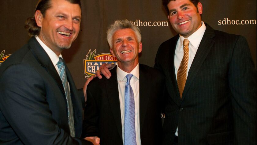 From left, former Padre Trevor Hoffman, former San Diego Soccers player Brian Quinn and former San D