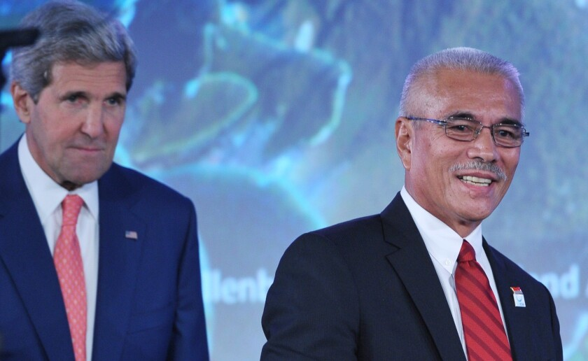 Kiribati President Anote Tong, right, and U.S. Secretary of State John F. Kerry at the Our Oceans conference in Washington.