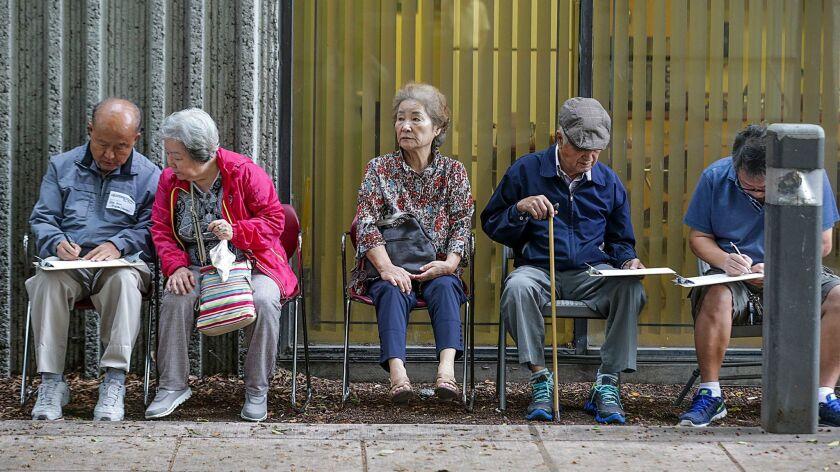 LOS ANGELES CA JUNE 03, 2017 --- Korean Americans lined-up at Pio Pico Library to vote for LA's con
