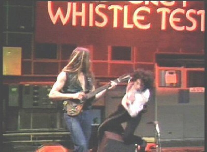 """MUSIC_How a star was born. John Otway landing on his """"gentleman's parts"""" live on the Old Grey Whistle Test in 1977."""