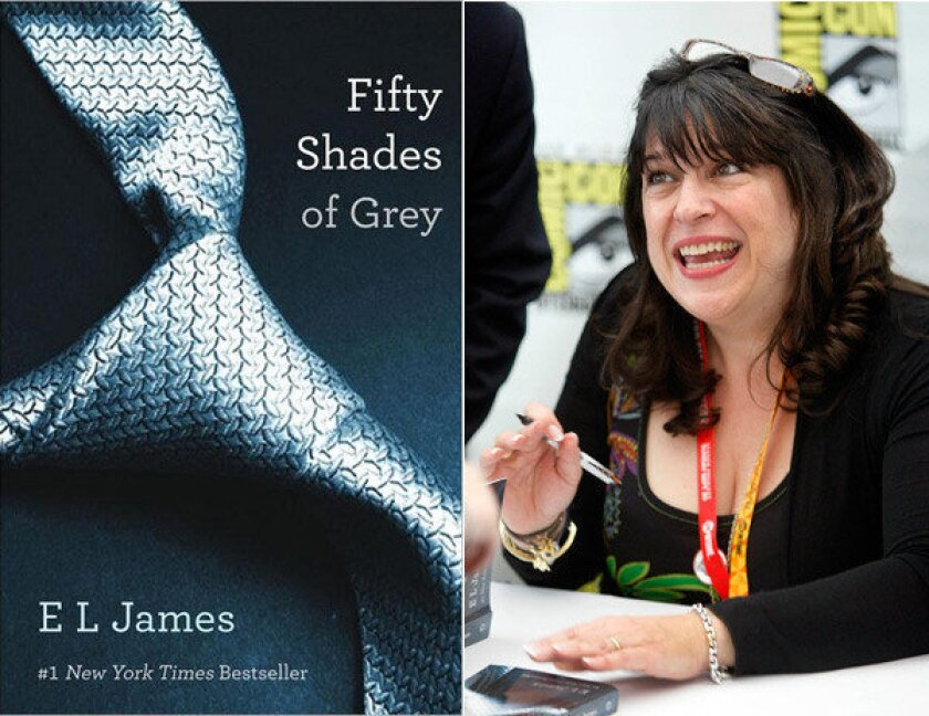 """E.L. James, author of the erotic bestseller """"50 Shades of Grey,"""" signs books at Comic-Con in San Diego."""