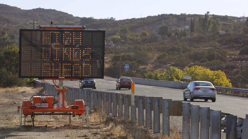 High wind warning out on I-8 eastbound at Alpine with 44mph gusts reported by National Weather Service.