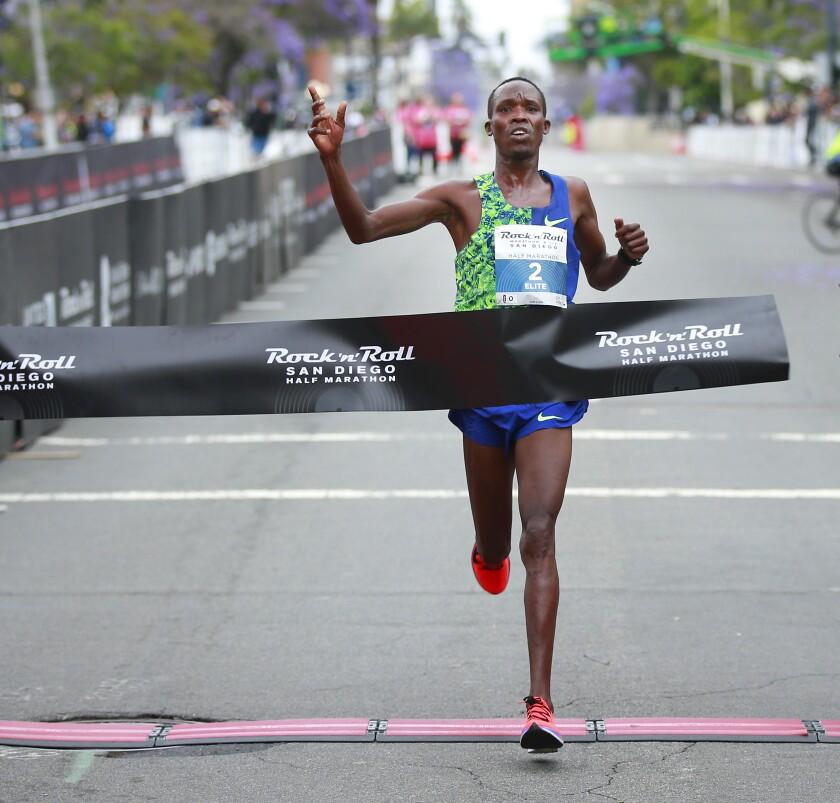 Benard Ngeno won the half marathon in the Rock 'n' Roll Marathon and Half Marathon in San Diego on Sunday.