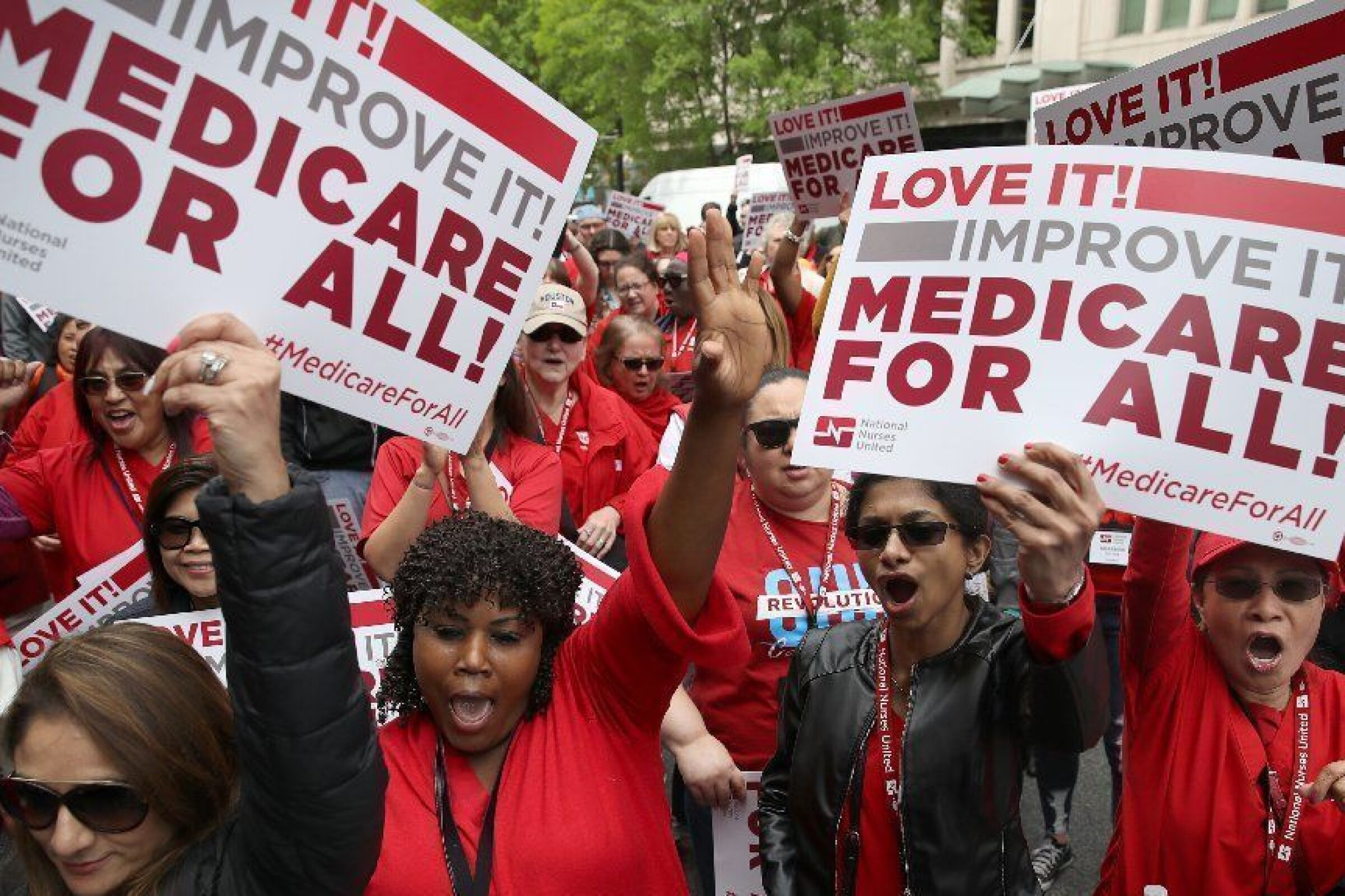 "Demonstrators rally in support of ""Medicare for all"" outside PhRMA headquarters in Washington, D.C., on April 29."
