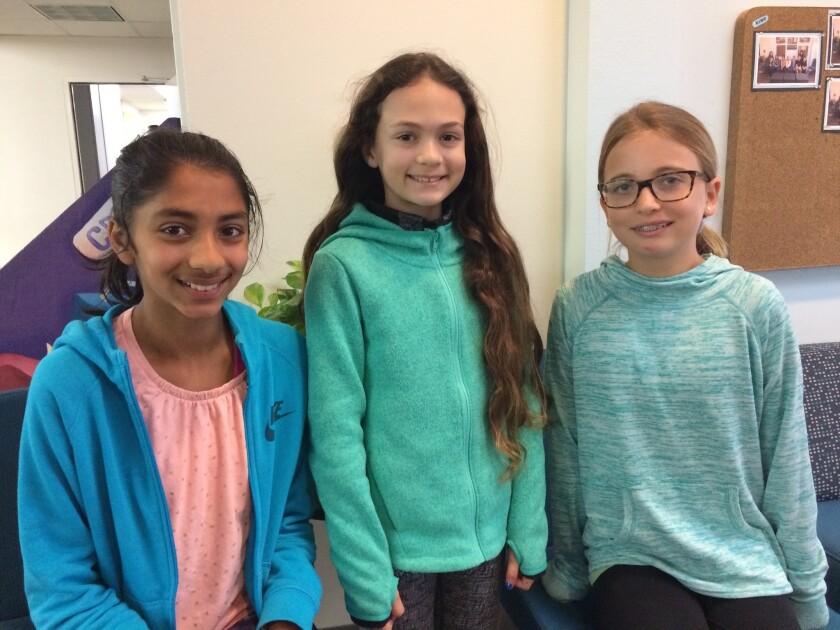 Carmel Del Mar students Brinda Srinivasan, Ariana Kogan and Lucie Babcock earned a perfect score at this year's WordMasters Challenge.