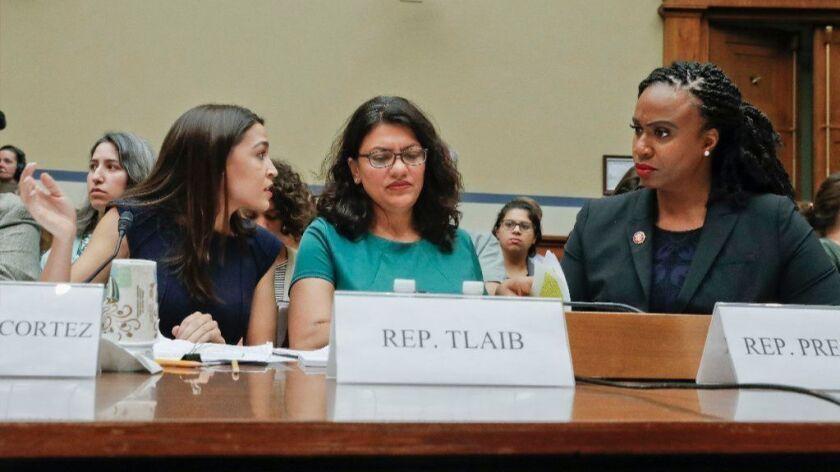 Reps. Alexandria Ocasio-Cortez, left, Rashida Tlaib and Ayanna Pressley.