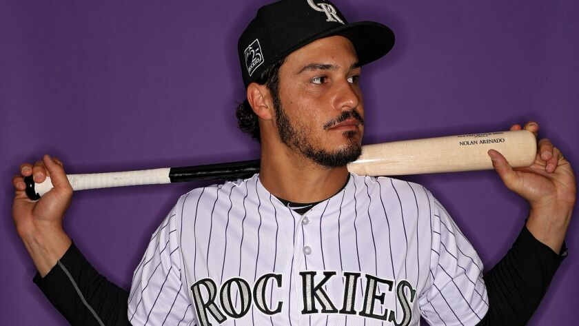 The Rockies' Nolan Arenado poses on photo day during at Salt River Fields at Talking Stick on February 22, 2018 in Scottsdale, Arizona.