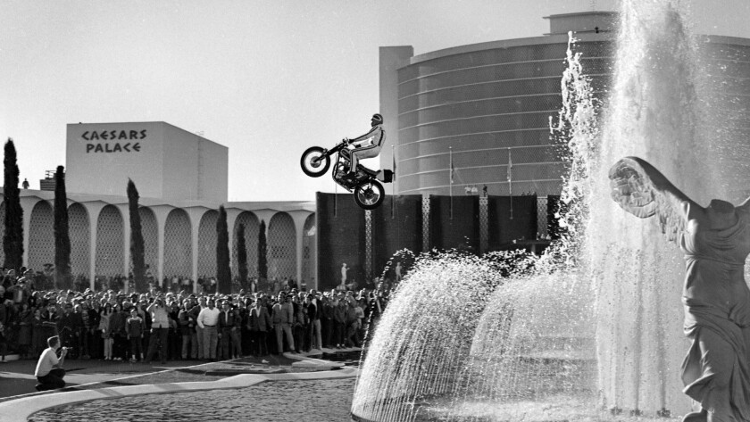 Evel Knievel attempts to jump the fountains at Caesars Palace December 31, 1967. Knievel's attempt c