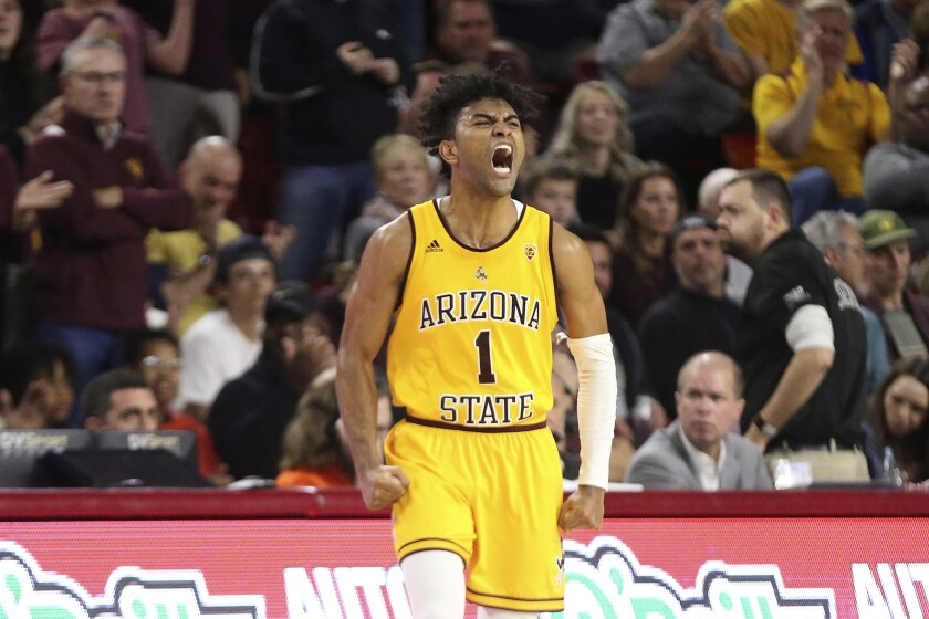 Arizona State's Remy Martin reacts after a run by the Sun Devils against Oregon State during the second half on Feb. 22 in Tempe, Ariz.