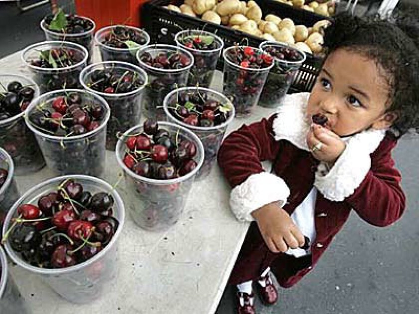 Leslie Wilson, 3, samples a cherry at the farmers market at Saint Agnes Church in L.A.