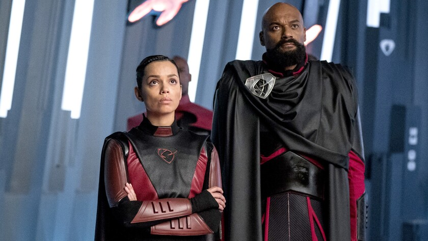 """Georgina Campbell and Colin Salmon in """"Krypton"""" on Syfy."""