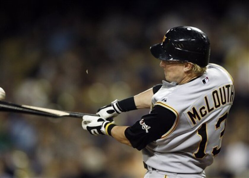Pittsburgh Pirates' Nate McLouth breaks his bat during the first inning of the baseball game against the Los Angeles Dodgers in Los Angeles, Monday April 14, 2008. (AP Photo/Kevork Djansezian)