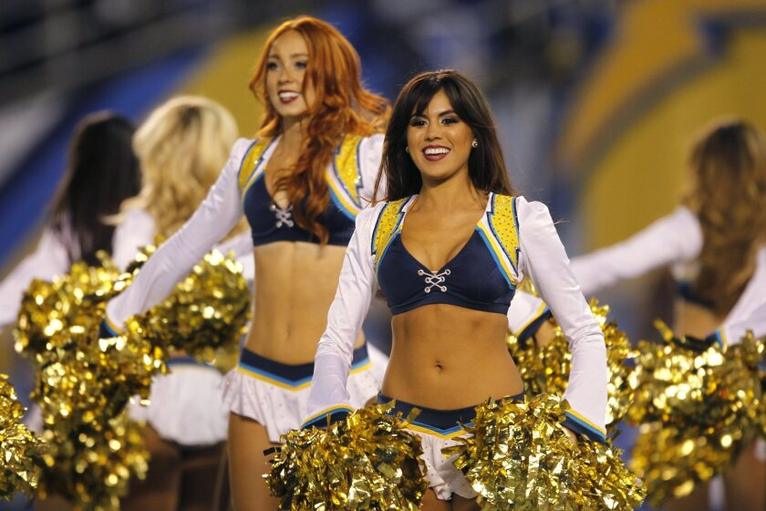 Charger Girls perform against the Patriots.