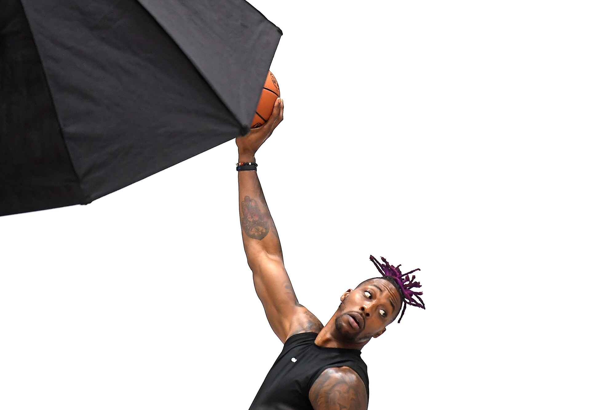 Dwight Howard poses for pictures during the Lakers' media day.