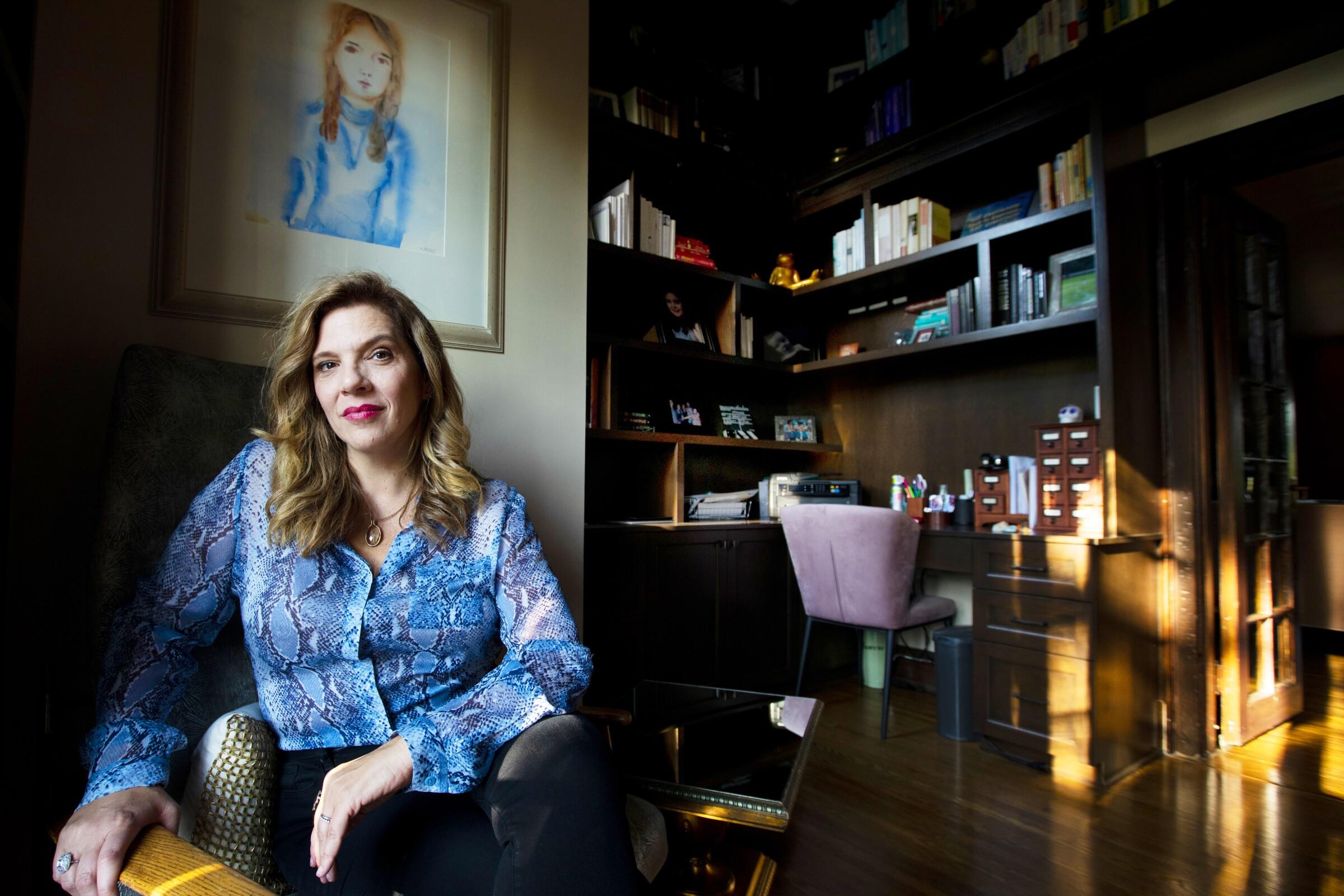 "Krista Vernoff, the showrunner of ""Grey's Anatomy,"" in her home office."