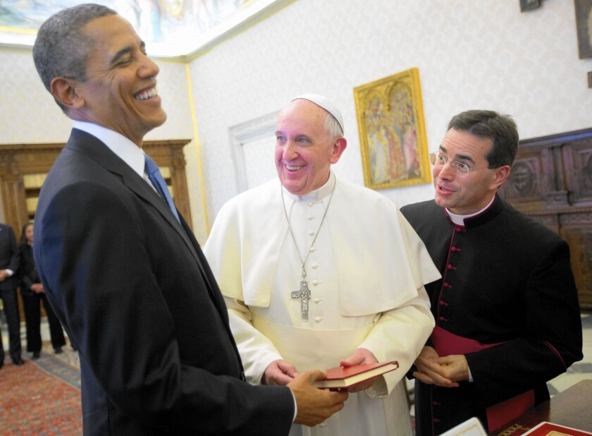 """When President Obama met with Pope Francis at the Vatican in March 2014, Obama said he was a """"great admirer"""" of the pontiff."""
