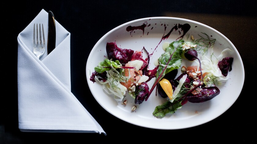 The beet and citrus plate from Wolf by Marcel Vigneron.